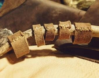 braintan buckskin leather ring ~ primitive sinew deerskin band braintanned rustic mountain man rendezvous primitivist