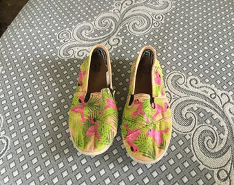 Hand painted palm tree leaves and flamingo shoes