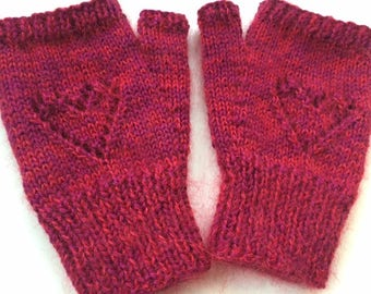 Supersoft fluffy 'warm hands, warm heart' hand knitted fingerless mitts - size S/M
