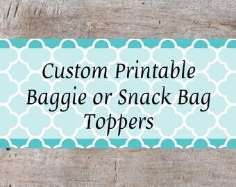 Personalized Baggie Topper, Custom Snack Bag Top, Printable Snack Bag Topper, Printable Treat Bag Topper, Personalized Bag Topper