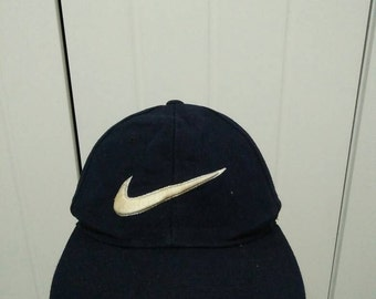 Rare Vintage NIKE SWOOSH Spell Out Big Logo Cap Hat Free size fit all