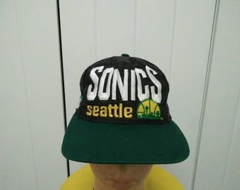 Rare Vintage Logo 7 SEATTLE SUPERSONIC Embroidered Spell Out Cap Hat Free size fit all