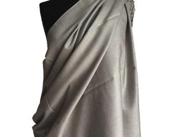 Silver Grey pashmina silk stole
