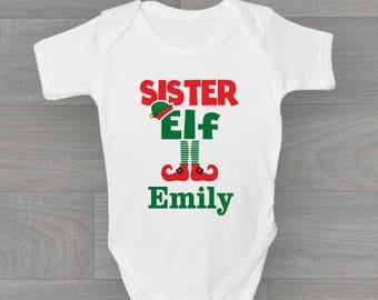 Personalised Sister Elf's! Girls Christmas Baby Grow, Bodysuit Baby Onesie Vest New Arrival Gift.