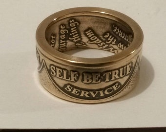 AA medallion coin ring. I make these medallions into rings they can proudly wear of their accomplishments.