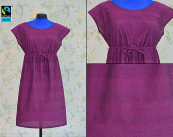 Fairtrade violet dress with sleeve, fair vegan organic, purple magenta, ribbon and lace to adjust to the perfect size