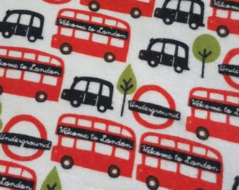 London Buses - Flannel Baby Blanket - Toddler Blanket - Handmade - Oversized Swaddler - Baby Boy - London - England - Baby