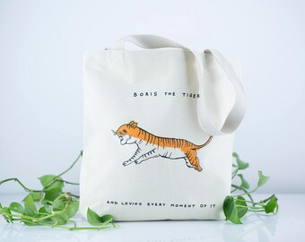 SALE 20%, Canvas Bag, Vegan Bag, Tiger Tote Bag With Pocket, Cotton Shopping Bag, Everyday PrintedBag, Tiger Art Printed Tote Bag