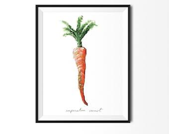 Carrot Print, Carrot Art, Food Illustration, Kitchen Decor, Carrot Painting, Vegetable Print, Vegetable Painting, Carrot Painting, Nature Ar