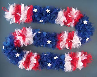 Patriotic Garland Memorial Veterans 4th July Decor Flag Stars Stripes Red White Blue 84-in length 4-inch diameter