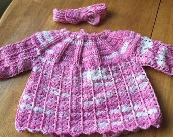 Handmade baby sweater with headband