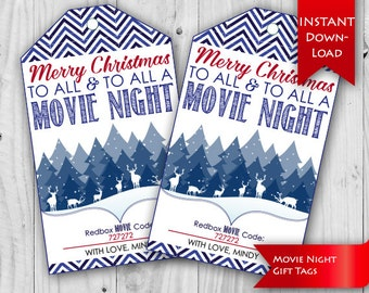 Movie Night Tag, Christmas Gift Idea | Teacher/Neighbor Christmas gift tag | Redbox Gift Certificate Tags - Editable {instant download}