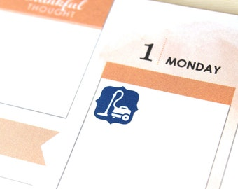Planner Stickers Vacuum Cleaner Icon, 48 vacuuming reminder decals, assorted colors, Erin ...