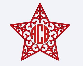 Monogram Star Vinyl Decal