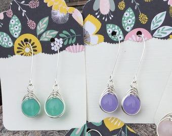 Gem Drop wire wrapped earrings in green or purple quartzite