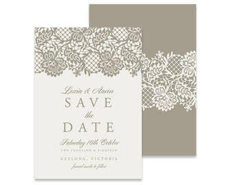 Lace Save the Date Invitation | Antoinette  | Printable DIY Wedding Invite, Save the Date Magnet, DIY Save the Date, Printable Save the Date