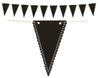 Black Triangle Pennant Banner, Chalkboard banner, Reusable Customizable Pennant Banner, Wedding Photo Prop, Black Chalkboard Bunting Banner