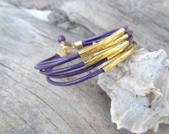 EXPRESS SHIPPING,Multi Strand Purple Leather Bracelet, Gold Bracelet, Leather Jewelry, Elegance,Feminine Bracelet, Mother's Day,Valentine's