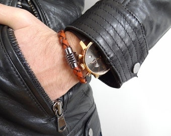 EXPRESS SHIPPING,Taba Braided Leather Bracelet,High Quality Leather Bracelet, Men's Jewelry,Magnetic Clasp Bracelet, Father's Day Gifts
