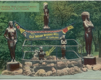 Old Indian Wishing Well of Capilano Vancouver BC Canada Antique POSTCARD
