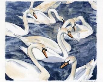 6x7 Original Watercolor Painting - Swans