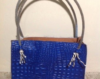 Hand made leather purse, hair on cow hide purse, blue alligator leather, western rope handle purse.