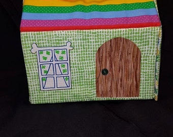 Rainbow Cottage Fabric Carry Along Portable Dollhouse Plus Accessories