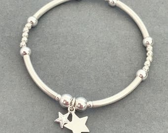 Sterling Silver Star Charm Noodle and Hammered Bead Bracelet