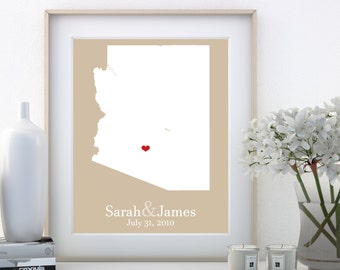 Arizona Art Print Personalized New House Gifts for Parents Custom State Heart Country with Heart Unique Map Present Map Wall Art Print