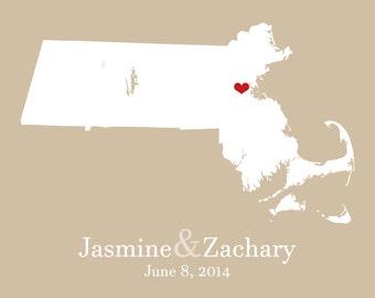 Massachusetts Print Massachusetts Sign Personalized Massachusetts Map Personalized Bridal Shower Decor Custom Bridal Shower Gift for Her Art