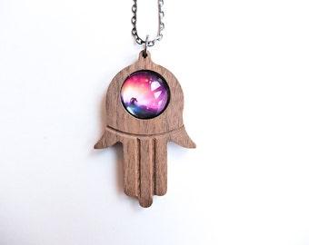Universe Space Nebula Hamsa God's Hand Custom Pendant Necklace