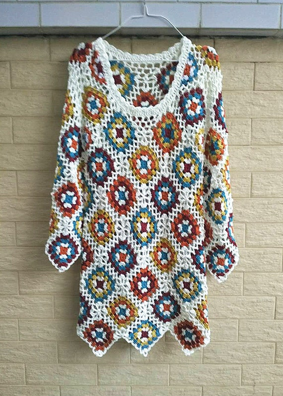 Crochet Granny Square Dress Patterns : Crochet Granny Square Dress Long Sleeves
