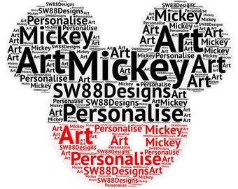 Mickey Mouse Personalised Name Art