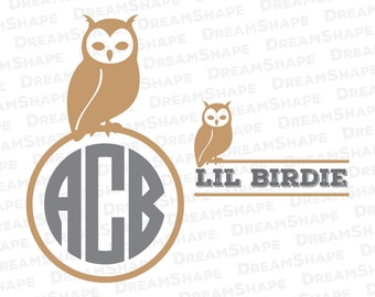 Owl SVG Cut Files, Bird Owl Monogram SVG Files, Owl Split Svg, Snow Owl Silhouette Svg Cutting for Cricut, Owl SVG File, Instant Download