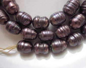 "Freshwater Pearls, Majestic Purple, 9mm x 6mm Oval, 16"" Strand"
