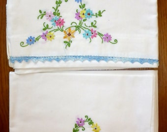 Set of 2 Vintage hand embroidered pillow cases with hand crocheted edging