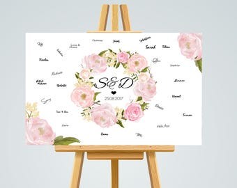 Guestbook POSTER personalized wedding #Pfingstrosen in A3