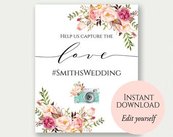 Instagram Sign, Instagram Wedding Sign, Oh Snap Wedding Sign, Hashtag Sign, PDF Template, Floral Instagram Sign, Help Us Capture The Love
