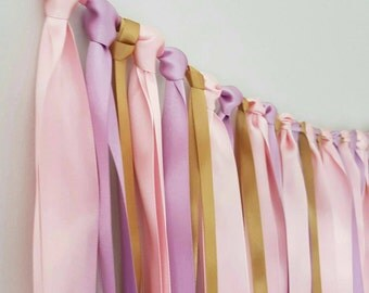 Ribbon garland. Bunting fabric pink and gold garland. Wedding, birthday, nursery room. Multiple colours available. Girl or boy. Satin ribbon