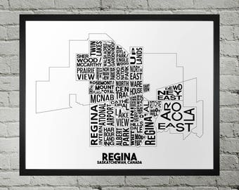 Regina Saskatchewan Neighbourhood Typography City Map Print