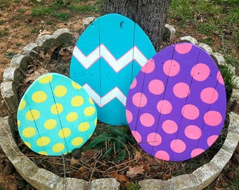 Easter Decor Outdoor 1 Large Wood Egg Pallet