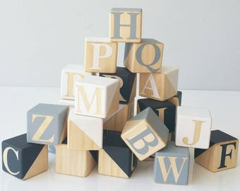 Wooden Alphabet blocks ~ A B C ~ 4x4 cm ~ 27 x blocks FULL ALPHABET + 1 blank. Monochrome, Paint Dipped in Black, Grey and White.