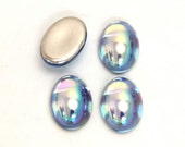 14X10mm Oval Light Sapphire AB Iridescent Glass Cabochon with Flat Back and Low Dome - Sold as batch of four  (4)