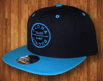 Aloha Strong Hawaii Black and Neon Blue Hat