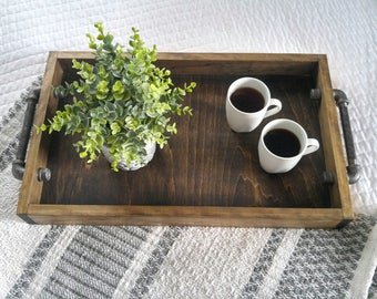 Industrial Serving Tray - Rustic Serving Tray - Ottoman Tray - Rustic Industrial Tray