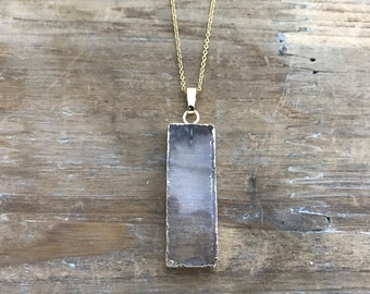 "Rectangle crystal slice Pendant on matching 18"" Gold Necklace Chain"