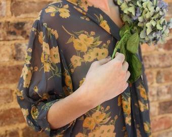 1920s RARE drop waist floral chiffon tea dress