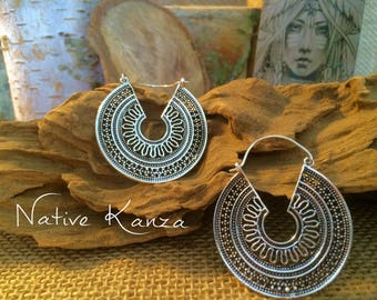 Sliver  earrings,sliver hoop earrings,tribal jewellery,gypsy earrings,earrings,Ethnic Earrings