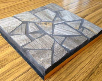 Upcycled Mosaic Trivet with Wood-Effect Ceramic Tile