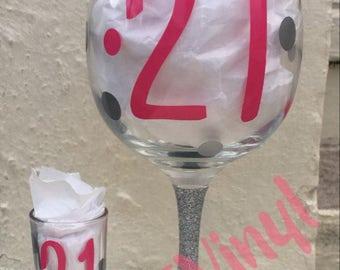 21st Birthday matching wine and shot glass
